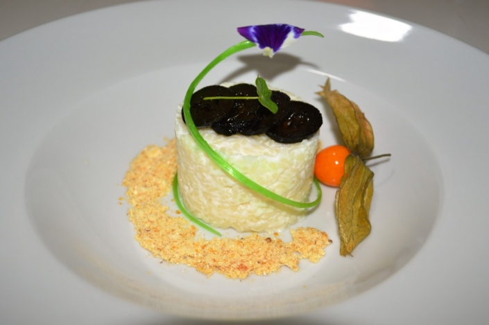 Rice pudding with Greek spoon dessert fig