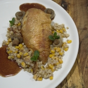 CHICKEN Whole Roasted with Corn, Wheat Berries, and Chanterelles