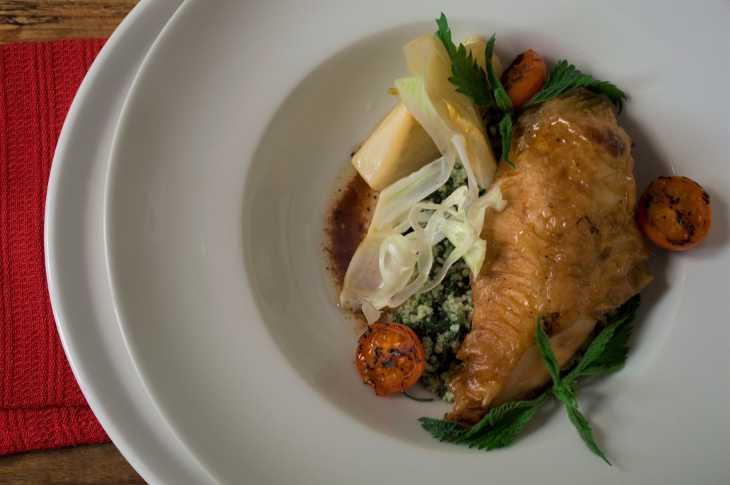 CHICKEN Whole Roasted with Millet and Fennel Barigoule